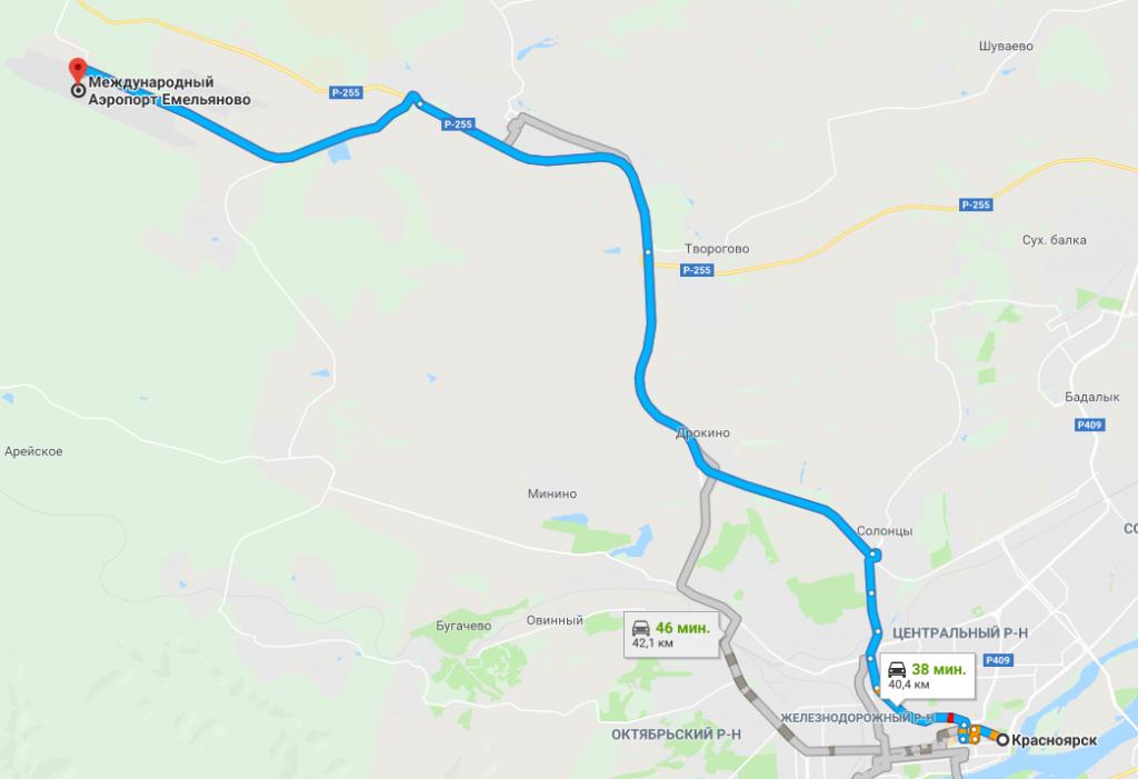 Как доехать в аэропорт Красноярска на машине