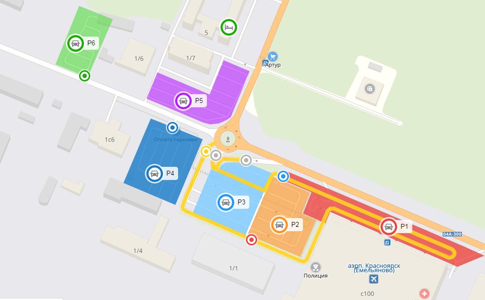 Парковочные зоны в аэропорту Емельяново